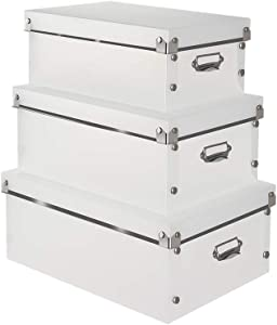 Collapsible File Storage Organizer with Lid - Decorative Storage Office Box,3 in 1 Set,Office Storage Boxes with Lid, Water-Proof Storage Bins for Toys,Shoes,Clothes,Office.