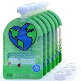 Food Pouch Reusable Baby Food Storage (6 Pack) Easy Fill Clean 3 Extra Caps Incl. Leakproof Dual Zipper for Homemade Organic Baby Food, Toddlers, Camping,