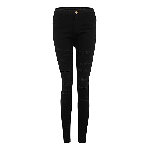 32ed8a343b8 Yalasga Women Mid Waisted Ripped Skinny Jeans Calf Length Stretch Denim  Pants Boyfriend Trousers at Amazon Women s Jeans store