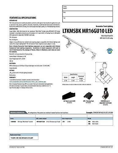 Lithonia Lighting LTKMSBK MR16GU10 LED 2700K MW Adjustable Decorative Lamp Mesh Track Kit, 300 Lumens, 120 Volts, 4 Watts, Dry Listed, Matte White by Lithonia Lighting (Image #2)