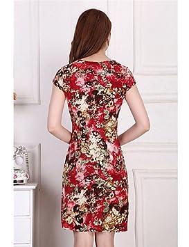 LYQ/ De las mujeres Tallas Grandes Vestido Tallas Grandes / Vintage / Fiesta / Para Trabajo / Casual / Playa Floral / EstampadoHasta la , red-xl , red-xl: ...