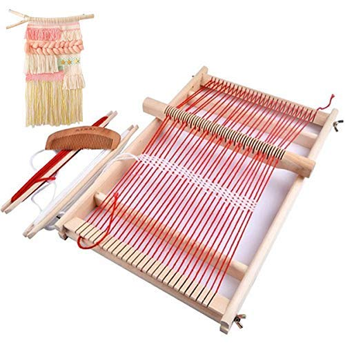 Mikimiqi Wooden Multi-Craft Weaving Loom Large Frame 9.85x 15.75x 1.3inches to Handcraft for Kids ()