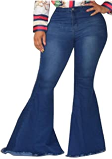 fdb292e4011 DFBB Women Bell-Bottom Flare Pants Loose Fit Vintage Stretchy Plus Size  Jeans Denim Pencil