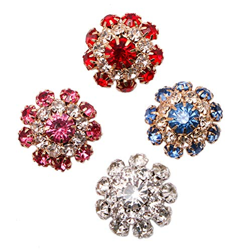 - JETEHO 8Pcs Rhinestone Crystal Glass Buttons Embellishment Jewelry Charms for Crafts