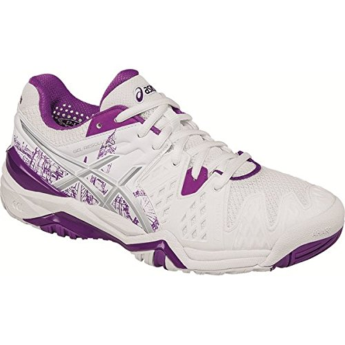 Asics Womens Gel Resolution 6 London Tennis Shoes, White/Silver/Purple (US 8)