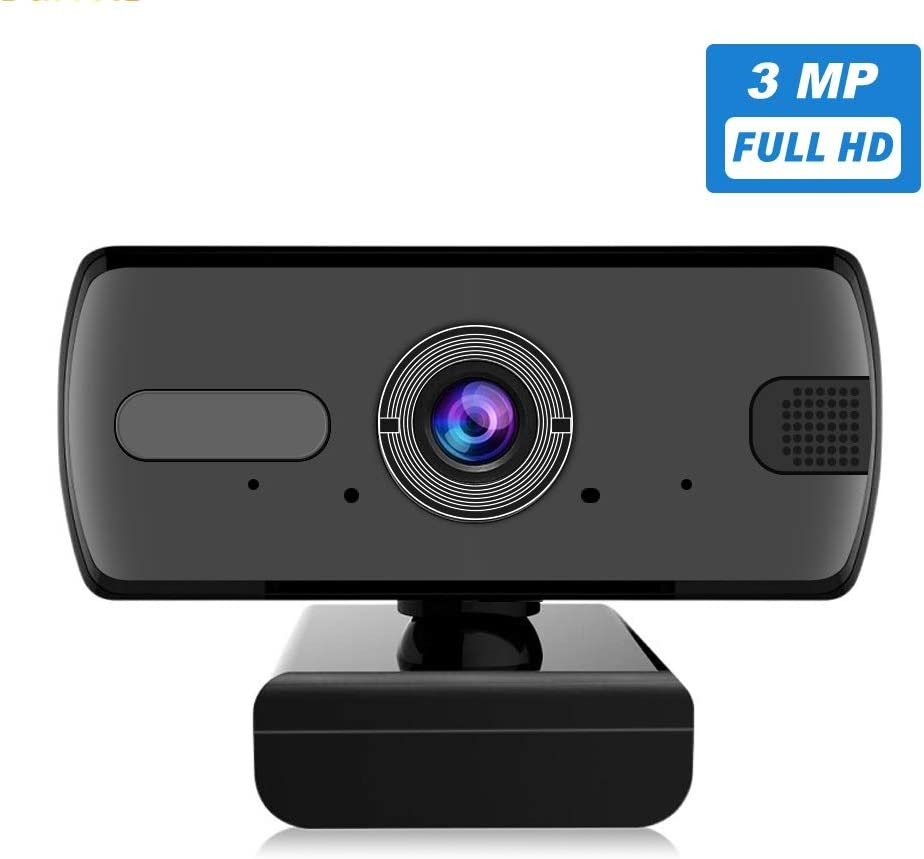 Webcam with Microphone for Desktop - CESCOM 3MP USB Camera for Computer, HD Streaming Web Cam, 110 Degree Wide Angle Sharp Image, Plug and Play Design, Automatic Noise Reduction, Ideal for Laptop, PC