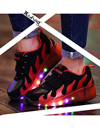 Mr.Ang Niños Unisex LED Luz Parpadea Ruedas Zapatillas Auto-párrafo Roller Zapatos Patines Deportes Zapatos Correr Para Niños Navidad Año nuevo Regalo 031 negro rojo
