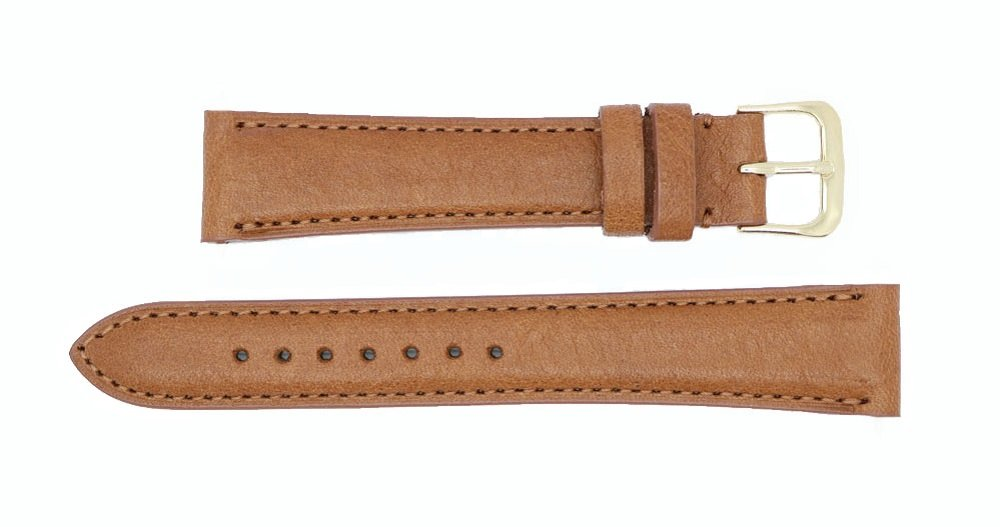 Montana Genuine Leather Watch Band Strap - American Factory Direct - 16mm 17mm 18mm 19mm 20mm 22mm - Both Gold & Silver Buckles Included - Made in USA by Real Leather Creations 16mm Tan PAD FBA46 by Real Leather Creations (Image #2)