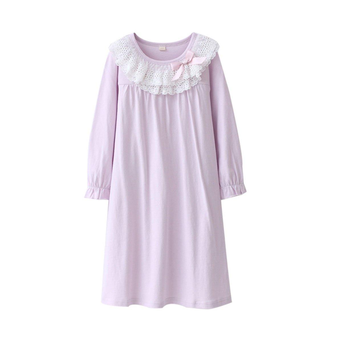 KINYBABY Girls Cotton Nightgown Lace Bowknot Princess Sleepwear Nightwear Dress Purple 6-7 Years/130cm