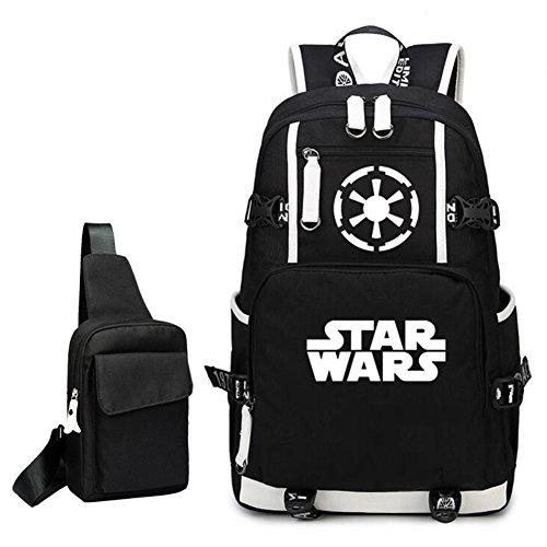 YOURNELO Unisex Star Wars Boba Fett Mandalorian Armor Backpack Canvas School Bag Bookbag (Black -