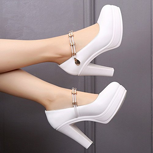 Shoes Catwalk Female Jqdyl Head Tacchi Platform Shoes Thick alti Bottom With Cheongsam Loose Round Shallow High Heeled Model White Muffin Cake Thick wWIqqBdvY