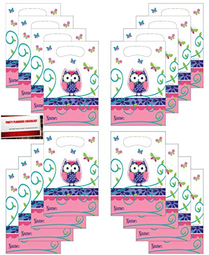 ((16 Pack) Owl Pal Kids Birthday Party Plastic Loot Treat Candy Favor Bags (Plus Party Planning Checklist by Mikes Super Store))