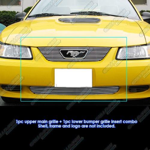 APS Fits 1999-2004 Ford Mustang V6/ V8 GT Billet Grille Combo #F67734A