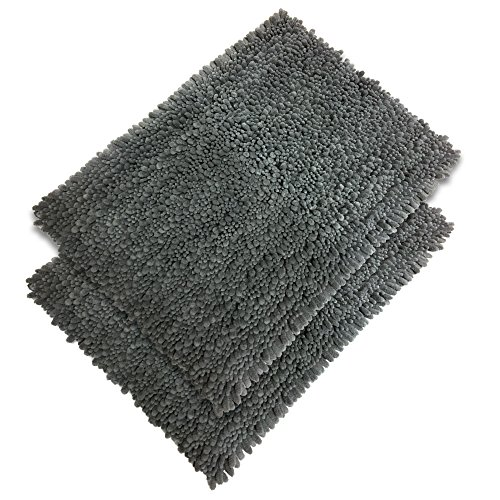 Elegant Bath Set of 2 Microfiber Shag Bath Mat, Non slip Backing, Ultra Soft, Extremely absorbent and Fast Drying. Durable, Easy Cleaning, Machine Washable. 5 different colors. Gray, 21x34