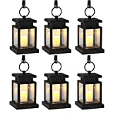 LVJING Solar Lights Outdoor,Hanging Solar Lantern Set Waterproof for Patio Landscape Yard, Warm White LED Flameless Candles Flickering with Auto Sensor On Off - Christmas Decorations(6 Pack)