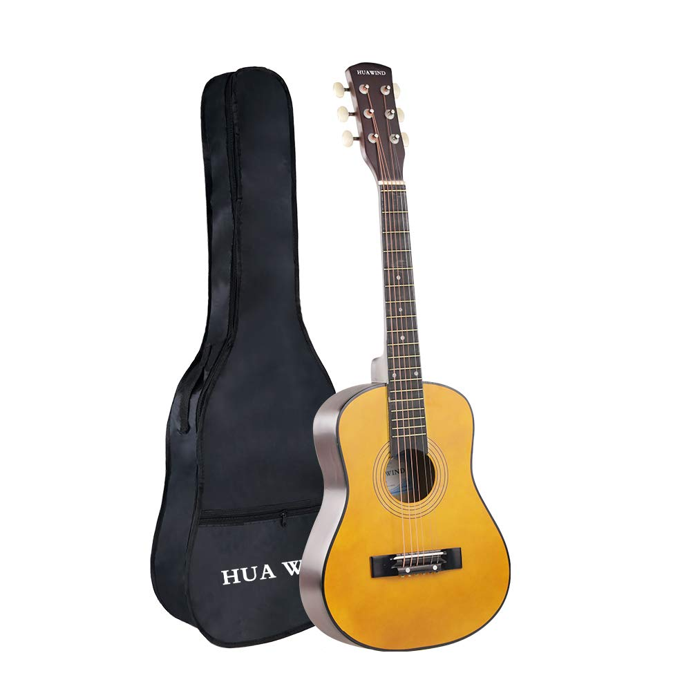 Acoustic Guitar, HUAWIND 30 Inch Half Size Basswood Steel Strings Natural Acoustic Guitar Starer Kit with Gig Bag