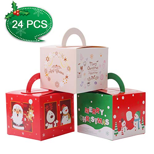 Gospire 24 Pieces Boxes Candy Boxes Party Favor Christmas Eve Box Xmas Party Bags Gift 3 Cute Styles (Gift Eve Bags Christmas)