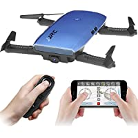 GEEDIAR JJRC H47 Selfie Foldable Drone Mini, FPV WiFi Quadcopter Drone with 720P HD Camera, Headless Mode, G-sensor Control, Attitude Hold, 3D Flips and Rolls, One-key Return Function (Blue)