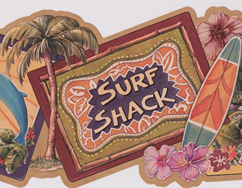 Sunny Beach Surfing Plaques Nautical Wide Wallpaper Border Retro Design, Roll 15' x 9'' - Blue Surfing Wallpaper