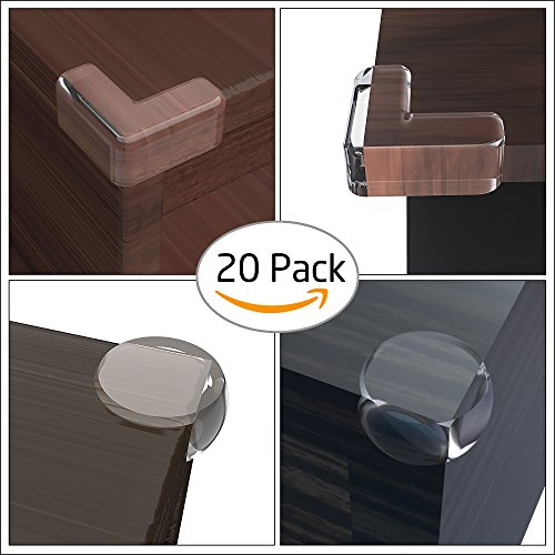 20 Pack Corner Guards, Ezire Child Corner Guards Safety Edge Clear Corner Protector with 3M Adhesive and Keep Children Safe Protect from Injury around the House