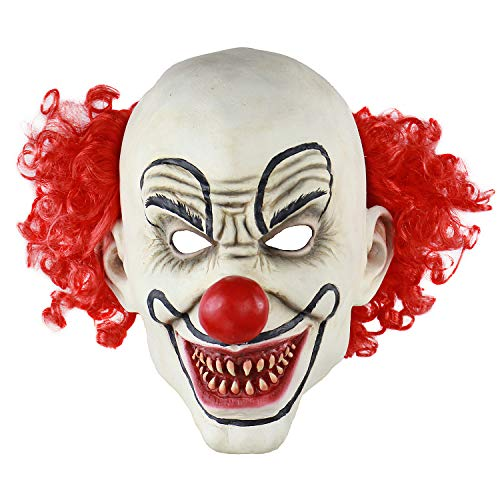 MICG Red Hair Latex Clown Mask Funny Joker Cosplay Scary Halloween Costume Party Props Masks -