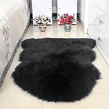 S-ssoy Super Soft Area Rugs, Genuine Australian Sheepskin Shaggy Rug One Pelt Natural Fur Sheep Skin Carpet Mat Chair Cover Seat Cushion Pad for Bedroom Living Room Floor Decor Black 75x100cm
