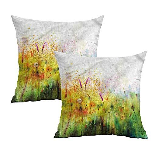 (Khaki home Flower Square Pillowcase Covers with Zipper Violet Garden Flower Square Travel Pillowcase Cushion Cases Pillowcases for Sofa Bedroom Car W 18