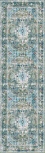 - Decomall Traditional Vintage Bohemian Distressed Abstract Area Rug Runner for Hallway Kitchen Living Room Bedroom, Green Multicolor, 2'6