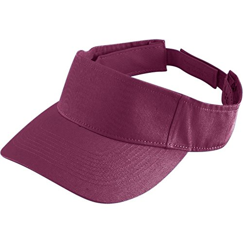 Augusta Activewear Sport Twill Visor-Youth, Maroon, One Size - Youth Sport Twill Visor
