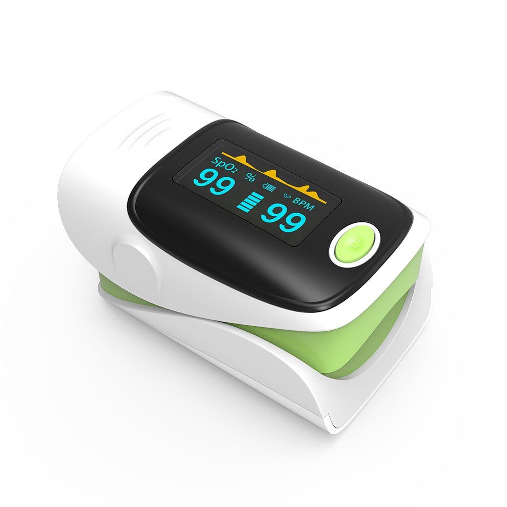 Pulse Oximeter Fingertip Oxygen Saturation Monitor Pulse Rate Monitor with Alarm Function OLED Display Yonker YK-80 - Green