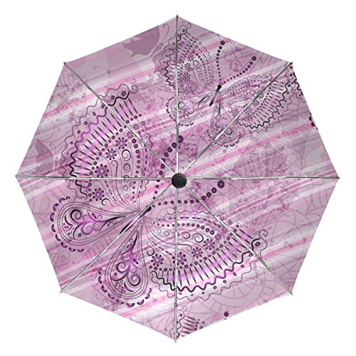 utterflies Flower Windproof Foldable Rain Travel Canopy Umbrella Auto Open Close Button ()
