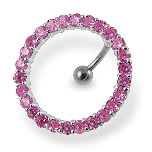 Pink Gemstone Fancy Studded Circular Reverse Bar 925 Sterling Silver with Stainless Steel Belly Button Navel Rings