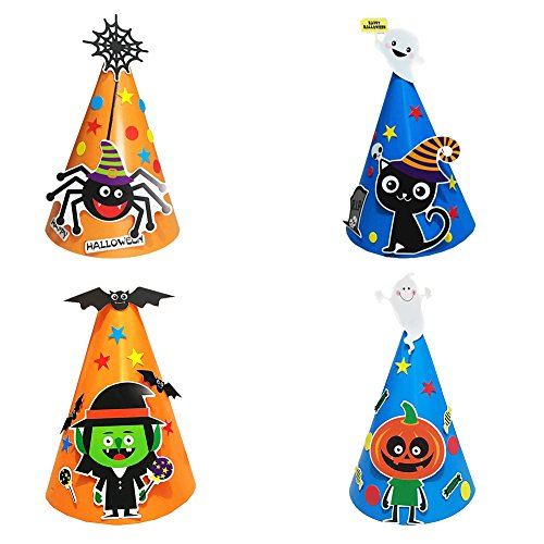 Party Hats Halloween, Birthday Party Cone Hats DIY, VIWIEU Carboard Cartoon Party Hats for Halloween Pretend Play, Party Favors 4 Counts, Carnival Decor Costume Play Ornaments