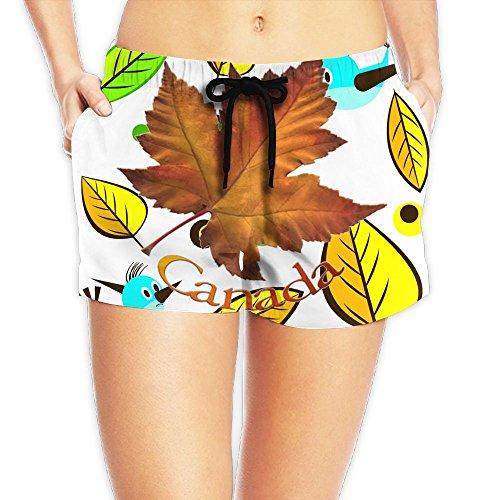 Decent Swimming Costume For Women (Canadian Maple Leaf Waist Shorts Women's Yoga Pantssummer Best)