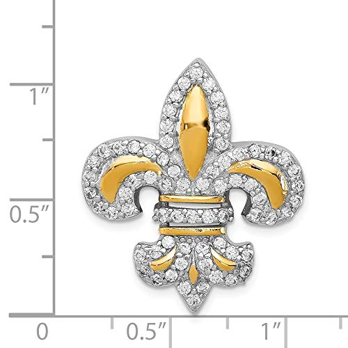 - Sterling Silver Synthetic CZ 14k Gold-Plated Accent Fleur De Lis Pendant Slide