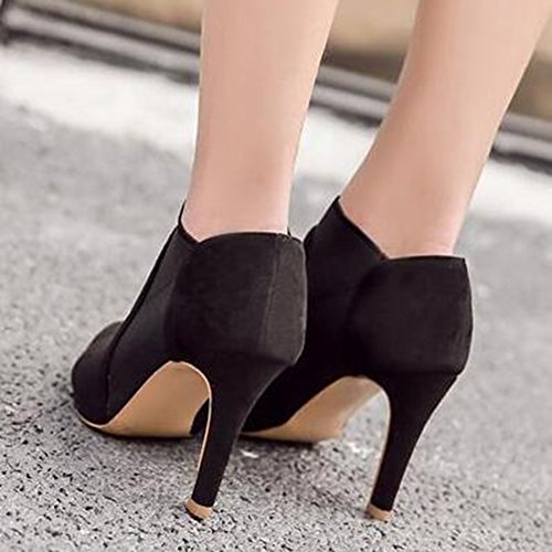 ... Easemax Femmes Élégantes Coutures Givrées Bout Pointu Haut Talon  Aiguille Bottes Noires 11cebcce62b7