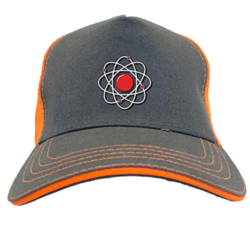 Atom with Electrons - Atomic Science Twill Soft Mesh Trucker Hat (Charcoal/Neon Orange)