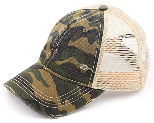 (H-6140-914-84 Distressed Trucker Hat - Green Camo/Beige Mesh)
