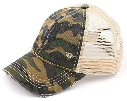 H-6140-914-84 Distressed Trucker Hat - Green Camo/Beige Mesh