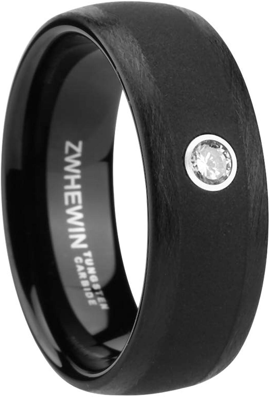 HEWINZW Tungsten Ring Men 8mm High Polished Wedding Engagement Band Zircon Comfort Fit Size 7-13