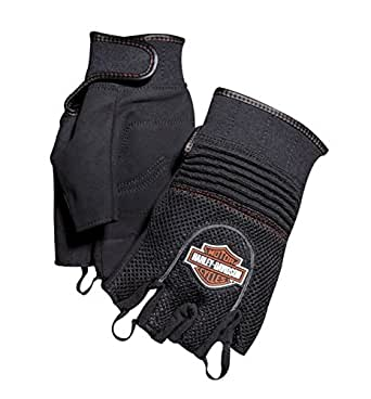 Harley-Davidson Mens B&S Fingerless Nylon Gloves 98262-07VM (Large)