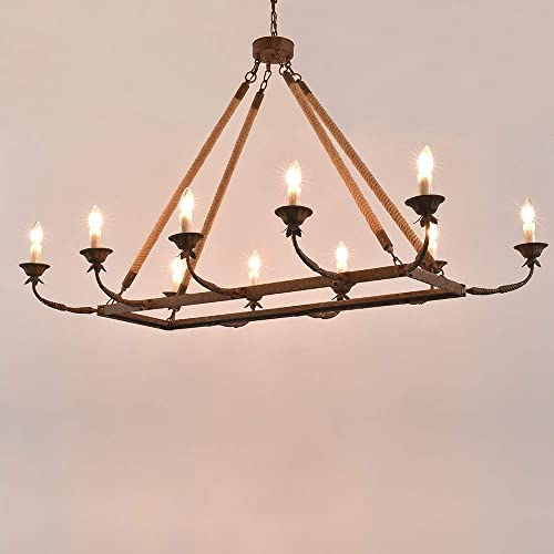 JiuZhuo Vintage 10-Light Rectangular Rust Metal Arms Candle Style Chandelier 48″ Linear Chandelier Hemp Rope Island Lighting Hanging Ceiling Fixture