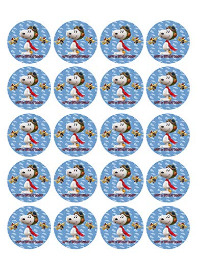 Snoopy Flying Ace - Edible Cupcake Toppers - 1.8