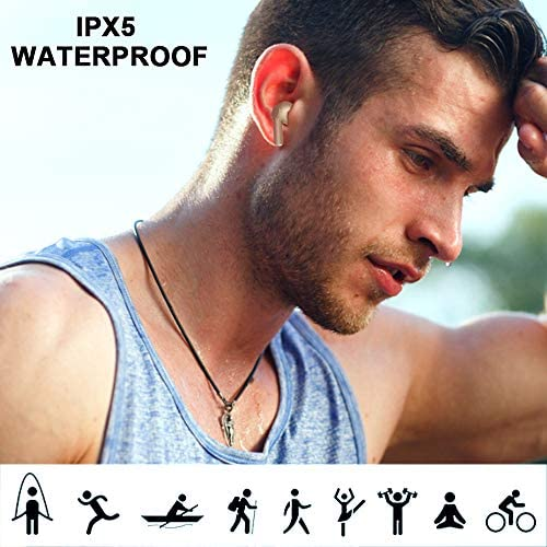 Wireless Earbuds Headphones Bluetooth 5.1 Headphones Noise Canceling IPX6 Waterproof Earphones in-Ear Built-in Mic 3-d Sound Headsets Compatible with iPhone/Android/Samsung for Work Home Office(Gold)