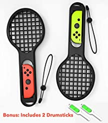 Tennis Rackets for Nintendo Switch games (2x racket) for Joy-Con Controller for Mario Aces (Black) plus 2 Joy Con Drumsticks Accessories (4 pieces total)
