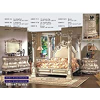 Inland Empire Furnitures Arianna White Wash Eastern King Canopy Bedroom Set