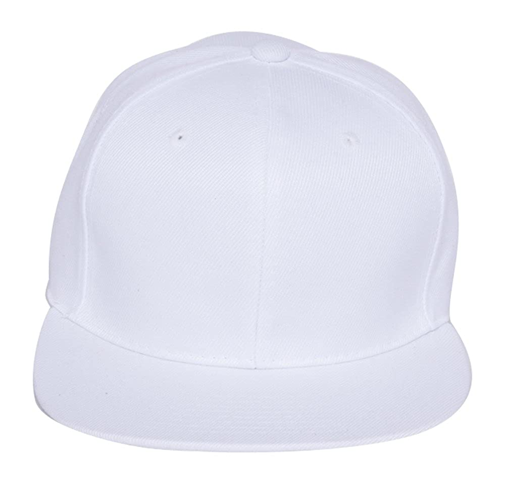Plain Fitted Flat Bill Hat - White at Amazon Men s Clothing store  8eef808bbca