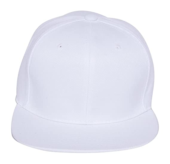 fd39b111fd7 Plain Fitted Flat Bill Hat - White at Amazon Men s Clothing store