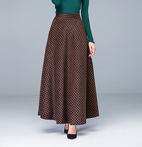 Lana De Houndstooth Elástica Caliente Moda Cintura Alta Mujeres Marrón Falda A Elegante Otoño Biilyli Las Y line La Larga Invierno XdUOqUw