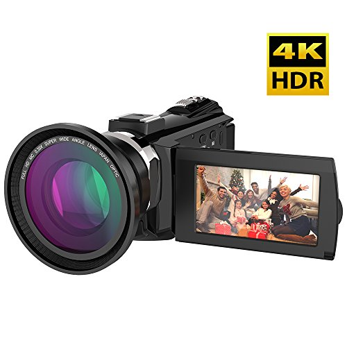 Video Camcorder, Andoer 4K Digital Video Camera 48MP 2880 x 2160 HD 3inch Touchscreen Handy Camera with IR Night Sight Support 16X Zoom 128GB Max Storage Christmas Valentine's Gift Present